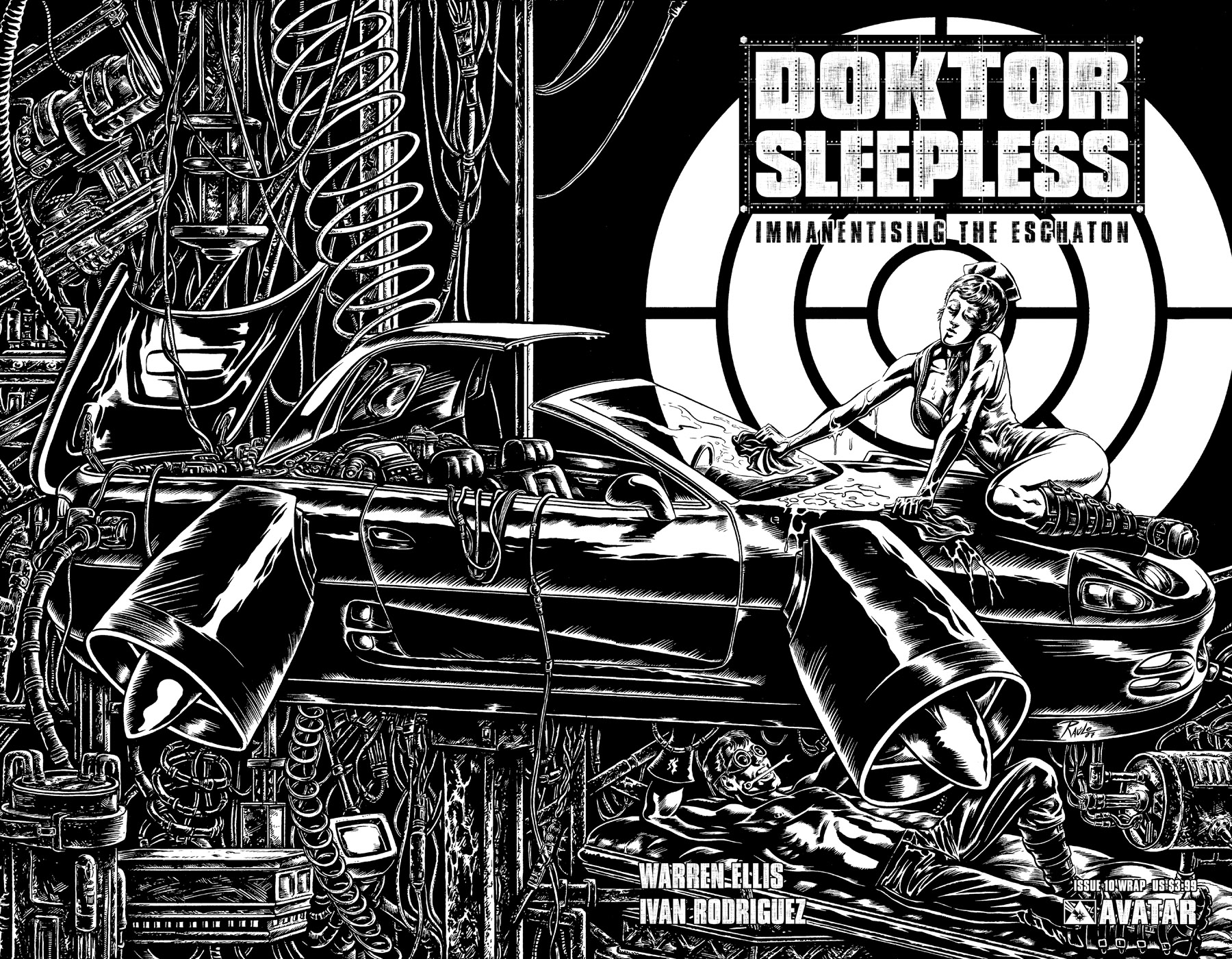 DOKTOR SLEEPLESS 10 Wraparound US 399 Cover Raulo Caceres Writer Warren Ellis Art Ivan Rodriguez Readership MR Format Full Color 32 Pages Monthly