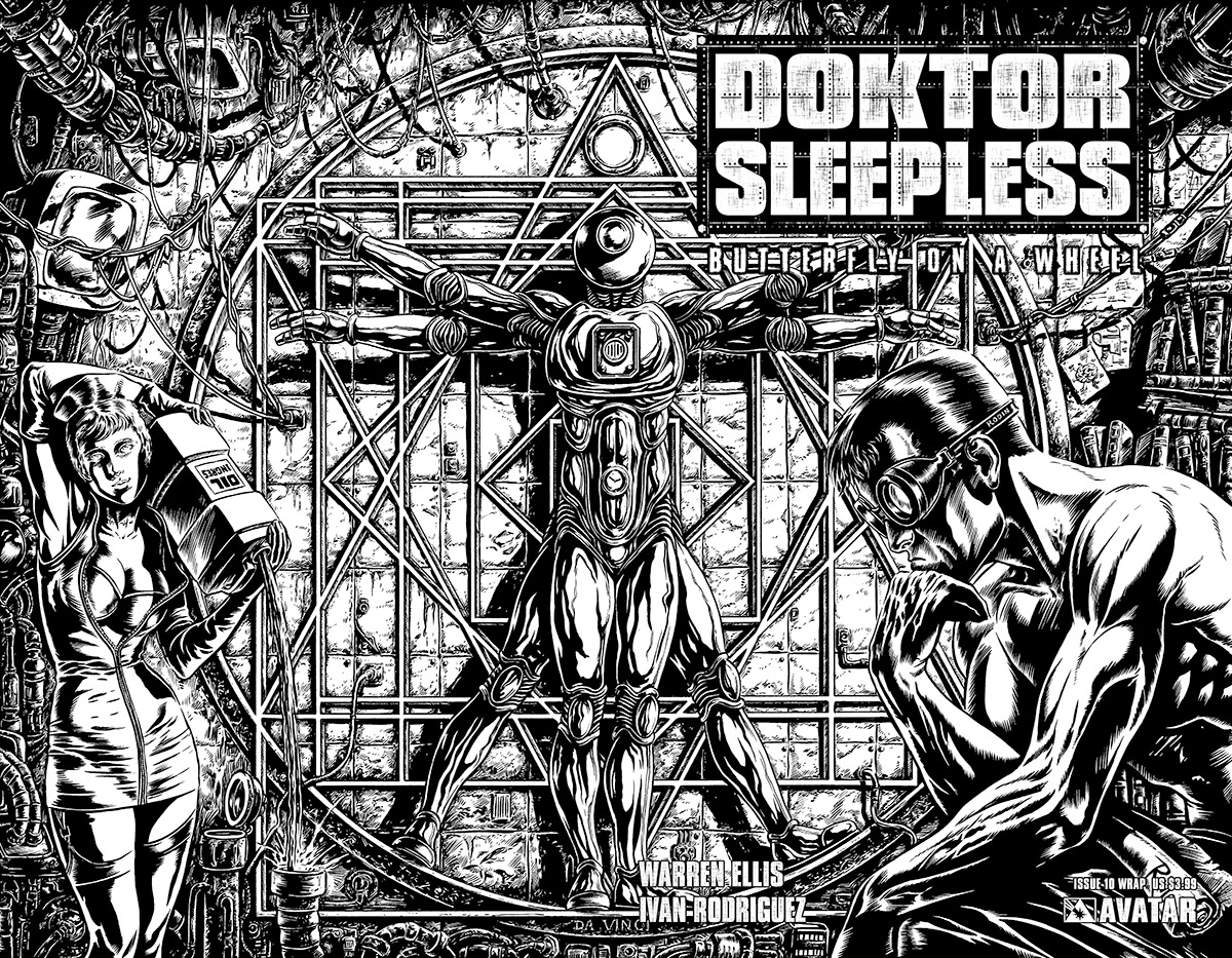 DOKTOR SLEEPLESS 11 Wraparound US 399 Cover Raulo Caceres Writer Warren Ellis Art Ivan Rodriguez Readership MR Format Full Color 32 Pages Monthly
